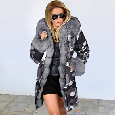 Women's Hooded Camouflage Faux Fur Fashionista Jacket | Mid-length Overcoat in Burgundy/Black/Gray Shawl Collar_3