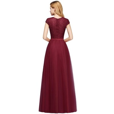 Elegant Lace Top Cap Sleeves Long Tulle Bridesmaid Dresses_12