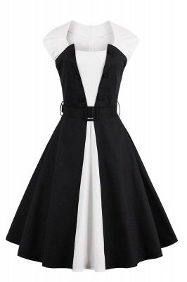 Essential Round Neck Cap Sleeve Black and White Dress
