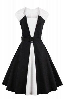 Essential Round Neck Cap Sleeve Schwarz-Weißes Kleid