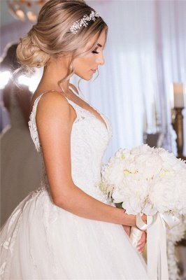 A-line Lace Ball Gown Wedding Dresses | Gorgeous Bridal Gowns_3