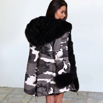 Women's Hooded Camouflage Faux Fur Fashionista Jacket | Mid-length Overcoat in Burgundy/Black/Gray Shawl Collar_9
