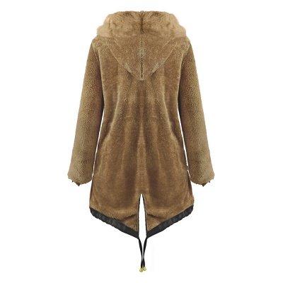 Manteau long garni de fausse fourrure noire   Manteau chaud en fourrure à capuche bordeaux / noir / gris Col châle_23