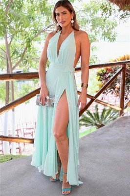 Halter A-line V-neck Prom Dresses | Split Front Mint Green Evening Gowns