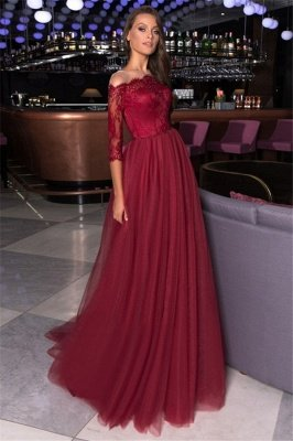 Lace A-line Bateau Evening Gowns | Burgundy Party Dresses