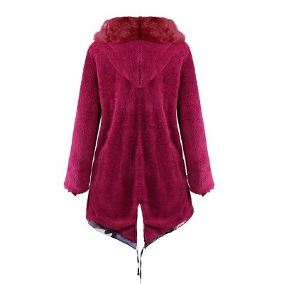 Women's Hooded Camouflage Faux Fur Fashionista Jacket | Mid-length Overcoat in Burgundy/Black/Gray Shawl Collar_32