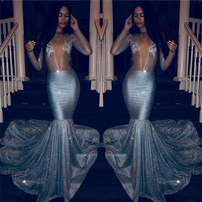 Sexy V-neck Sparkly Sequins Long Sleeve Prom Dresses Cheap   Mermaid Sheer Tulle Evening Gowns_2