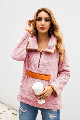 Going out Regular Hooded Fur Coat   Solid Colored Turndown Neck Long Sleeve Faux Fur Pink / Gray / Khaki_20