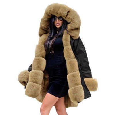 Manteau long garni de fausse fourrure noire   Manteau chaud en fourrure à capuche bordeaux / noir / gris Col châle_41
