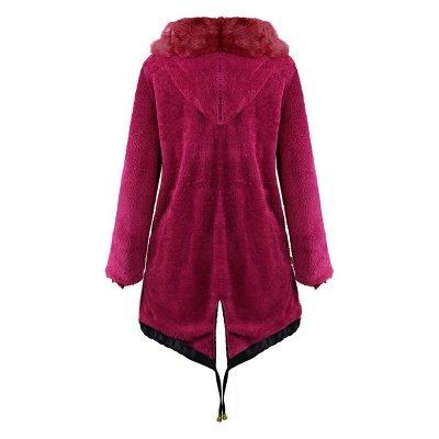 Manteau long garni de fausse fourrure noire   Manteau chaud en fourrure à capuche bordeaux / noir / gris Col châle_19