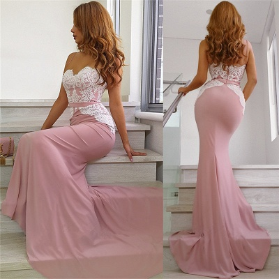 Spaghetti Straps Pink Evening Dresses | Open Back Mermaid Lace Formal Dresses_4