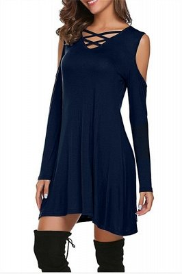 Cut-out Shoulders Long Sleeves Short Casual Dresses