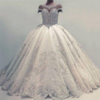 Роскошные бальные платья Свадебные платья | Блестящие кристаллы свадебные платья с цветами_4