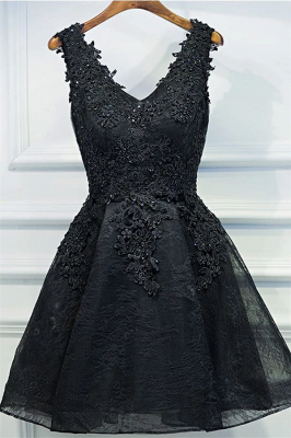Apliques de encaje vestido de regreso a casa barato | Vestidos negros pequeños y sexy