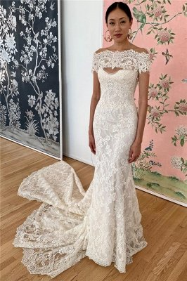 Mermaid Lace Off-the-shoulder Formal Dresses | Backless Wedding Gowns
