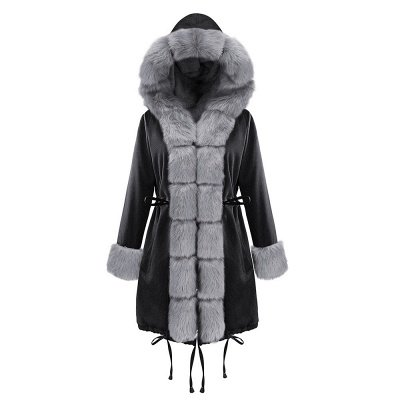 Black Faux Fur-trimmed Long-length Overcoat | Warm Hooded Fur Coat in Burgundy/Black/Gray Shawl Collar_32