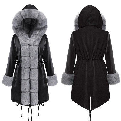 Black Faux Fur-trimmed Long-length Overcoat | Warm Hooded Fur Coat in Burgundy/Black/Gray Shawl Collar_12