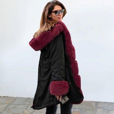 Manteau long garni de fausse fourrure noire   Manteau chaud en fourrure à capuche bordeaux / noir / gris Col châle_18