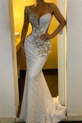 One Shoulder Appliques Sequined Evening Gowns | Backless Elegant Formal Dresses