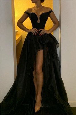 Off The Shoulder Black Evening Dresses for Women | Organza Long Prom Dresses Cheap Online_1