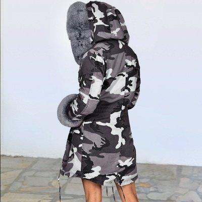 Женская куртка с капюшоном из искусственного меха с капюшоном   Пальто средней длины в бордовом / черном / сером воротнике_29