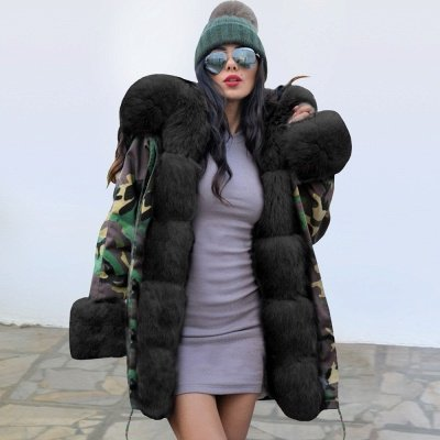 Electric Army Green Faux Fur Chubby Jacket | Superstar Faux Fur Coat in Burgundy/Black/Gray Shawl Collar_3