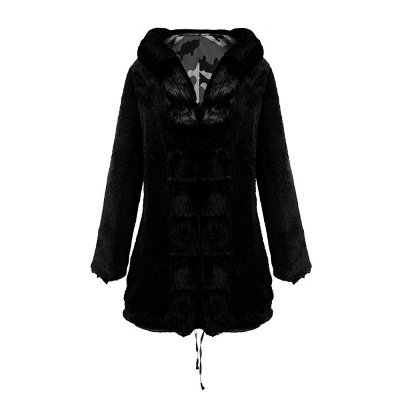 Women's Hooded Camouflage Faux Fur Fashionista Jacket | Mid-length Overcoat in Burgundy/Black/Gray Shawl Collar_34