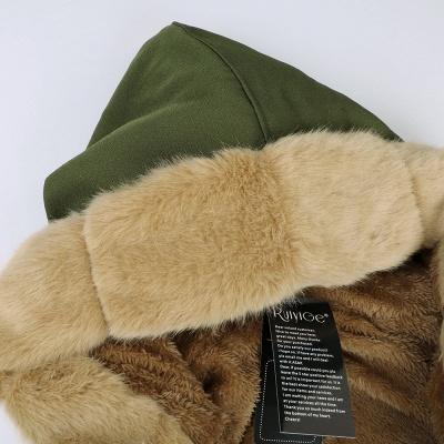 Manteau long garni de fausse fourrure noire   Manteau chaud en fourrure à capuche bordeaux / noir / gris Col châle_50