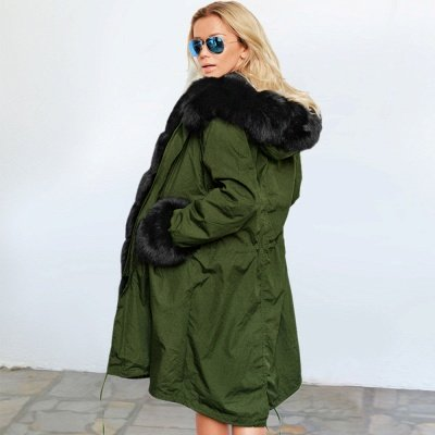 Army Green Faux Fur-trimmed long-length Coat | Classic Solid Color Winter/Fall Jacket_12