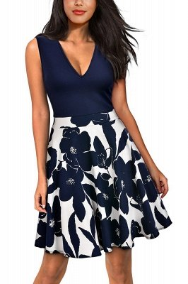 Sleeveless Sexy V-neck A-line Dress with Floral Skirt | Clearance Sale & Free Shipping_7