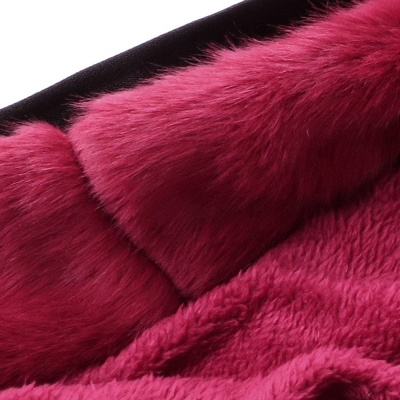 Black Faux Fur-trimmed Long-length Overcoat | Warm Hooded Fur Coat in Burgundy/Black/Gray Shawl Collar_48