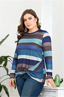 Plus Size Colorful Stripes Long Sleeves Knotted Blouses