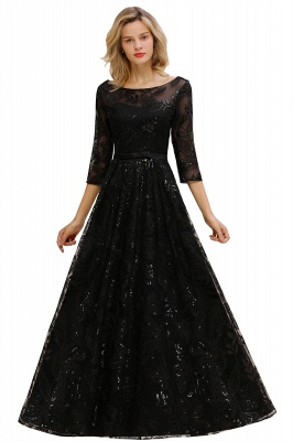 Acacia | Scoop neck Long Sleeves Black Prom Dresses with Sparkly Floral Designs_11