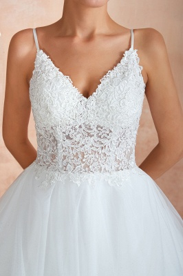 Camille | White Ball Gown Wedding Dress with Chapel Train, Spaghetti Strap See-through Lace up Bridal Gowns for Sale_4