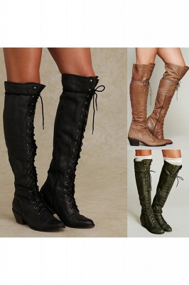 Cowboy Brown, Taupe, Black Womens Long Round Toe Chunky Boots
