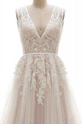 Elegante A-Linie Brautkleid aus Tüll mit Spitzenapplikationen T-Shirt Abendkleid_4