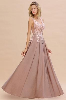 Rebacca | A-Line V-neck Floor-Length Tulle Sequined Prom Dresses_10