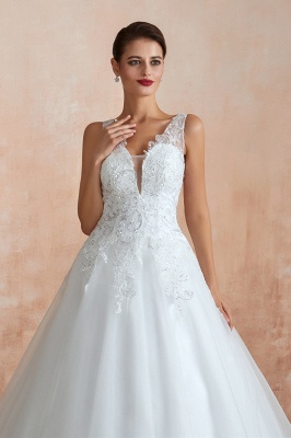 Carly | Sexy Pluging V-neck Ball Gown Wedding Dress with Chapel Train, Affordable Bridal Gowns with see-through Lace Back_6