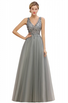 Abina | Sexy V-neck Sparkly Beaded Low Back Prom Dress with Gemstones_13