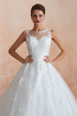 Cain   Illusion Neck White Wedding Dress with exqusite Lace Appliques, Sleeveless V-back Bridal Gowns Online_8