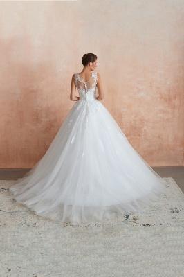 قابيل | الوهم العنق فستان الزفاف الأبيض مع يزين الدانتيل exqusite ، بلا أكمام الخامس عودة أثواب الزفاف رخيصة على الانترنت_3