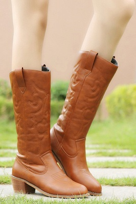 Brown Black High Boots | Thick Winter Leg Boots with  Kitten Heel