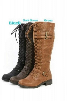 Military Womens Knee length Lace Up Fashion Combat Boots in Brown, Black