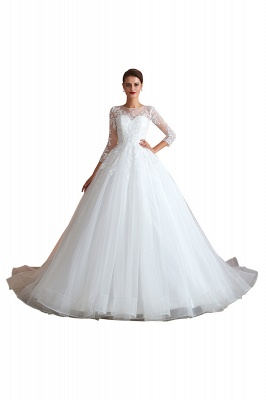 Canace | Romantic Long sleeves Lace Ball Gown Wedding Dress, Fully covered Buttons Bridal Gowns with Court Train_1