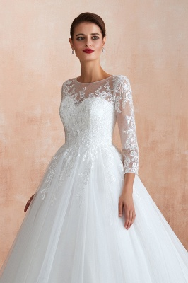 Canace | Romantic Long sleeves Lace Ball Gown Wedding Dress, Fully covered Buttons Bridal Gowns with Court Train_10