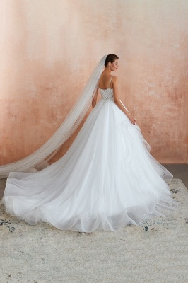 Camille | White Ball Gown Wedding Dress with Chapel Train, Spaghetti Strap See-through Lace up Bridal Gowns for Sale_8