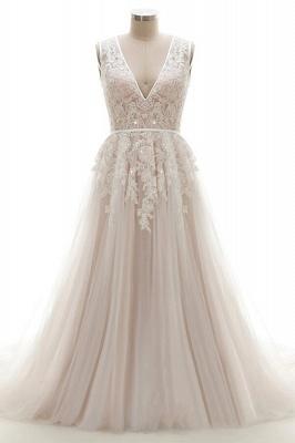 Elegante A-Linie Brautkleid aus Tüll mit Spitzenapplikationen T-Shirt Abendkleid_1