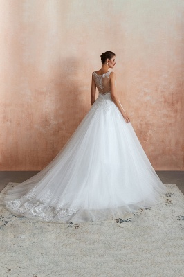 Carly | Sexy Pluging V-neck Ball Gown Wedding Dress with Chapel Train, Affordable Bridal Gowns with see-through Lace Back_8