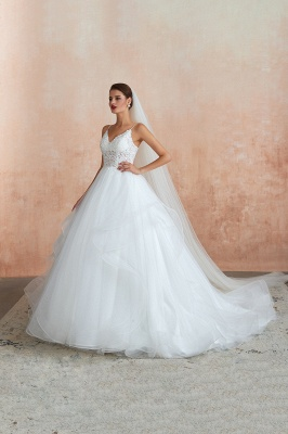 Camille | White Ball Gown Wedding Dress with Chapel Train, Spaghetti Strap See-through Lace up Bridal Gowns for Sale_6
