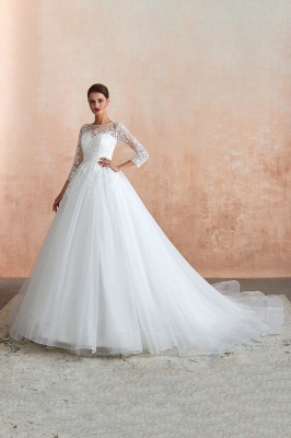 Canace | Romantic Long sleeves Lace Ball Gown Wedding Dress, Fully covered Buttons Bridal Gowns with Court Train_9